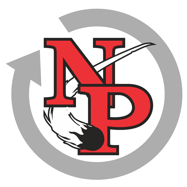NP logo with circle arrow outlining it
