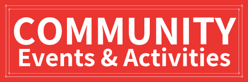 Red background, white text, reads Community Events and Activities