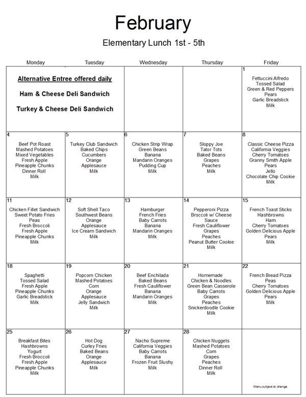 February 2019 1st-5th grade lunch menu