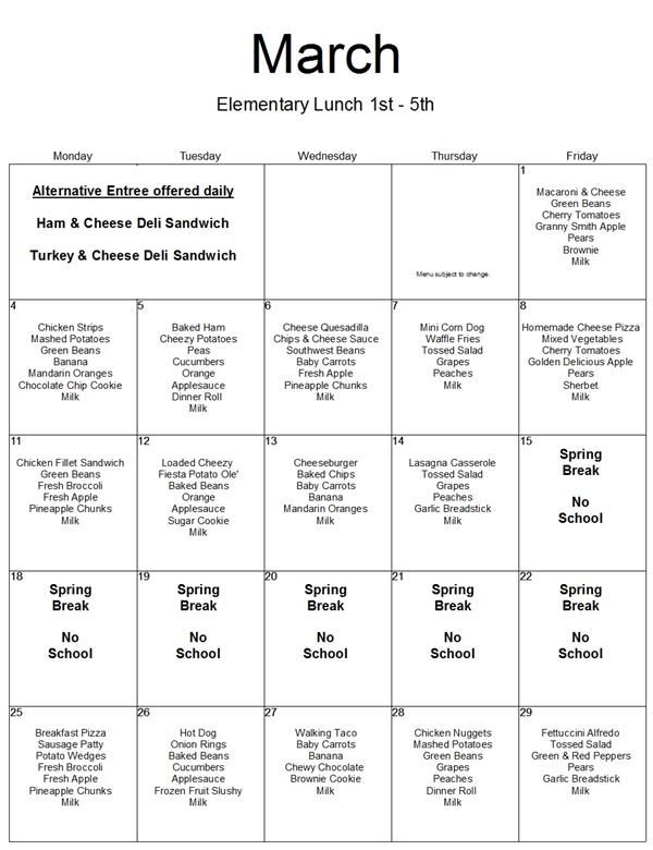March Menu: 1st-5th Lunch