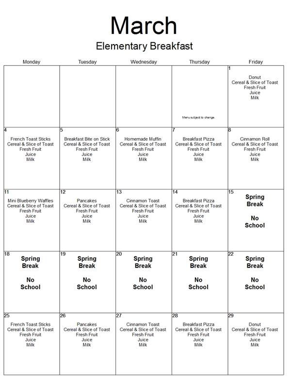 March Menu: Elementary Breakfast