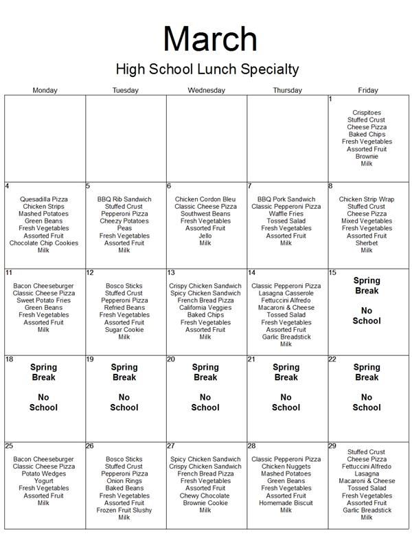 March Menu: High School Specialty Lunch