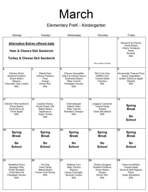 March Menu: PreK-K Lunch